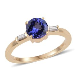 ILIANA 18K Yellow Gold 1.20 Carat AAA Tanzanite Round Ring, Diamond SI G-H.