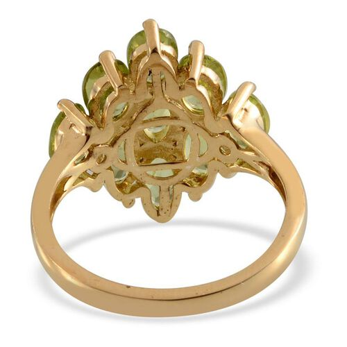 AA Hebei Peridot (Ovl) Ring in 14K Gold Overlay Sterling Silver 4.500 Ct.