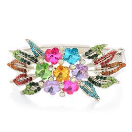 Multi Colour Austrian Crystal and Multi Colour Glass Bangle (Size 7.5) in Silver Tone