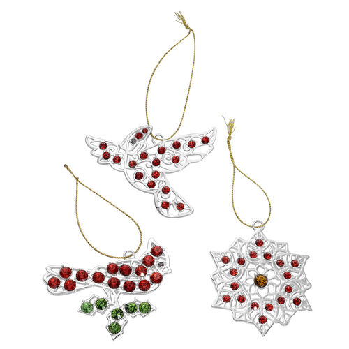 Home Decor - Set of 3 - Red and Purple Austrian Crystal, Yellow, Green and Red Glass Bird, Pigeon and Flower in Silver Tone