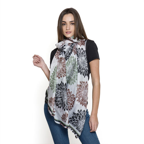 100% Mulberry Silk White and Multi Colour Abstract Pattern Printed Pareo (Size 180x100 Cm)