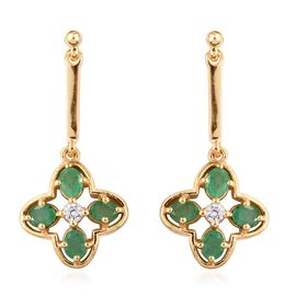 Kagem Zambian Emerald (Ovl), Natural Cambodian Zircon Earrings (with Push Back) in 14K Gold Overlay Sterling Silver 1.500 Ct.