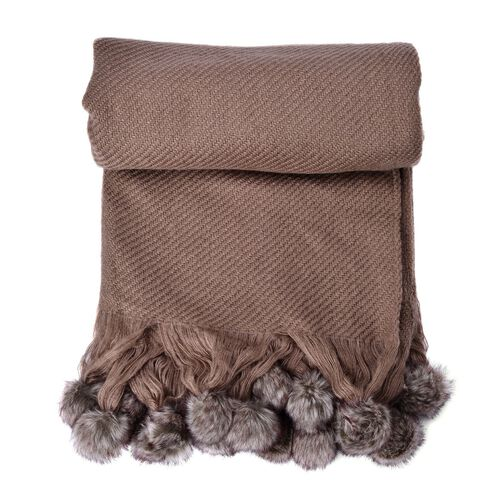 Chocolate Colour Throw-Shawl with Pom Pom (Size 160x130 Cm)