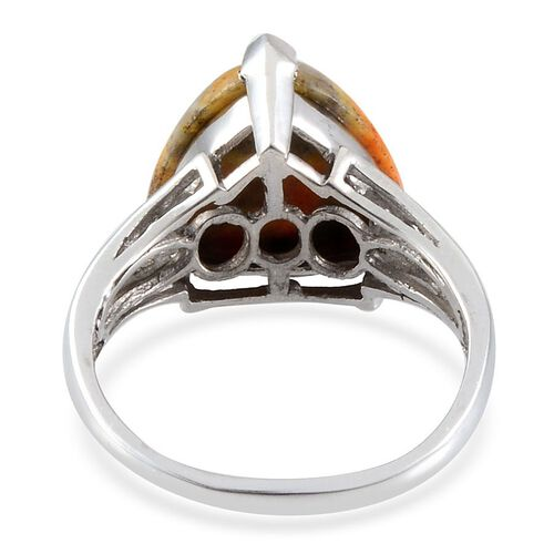 Bumble Bee Jasper (Trl 5.75 Ct), Diamond Ring in Platinum Overlay Sterling Silver 5.800 Ct.
