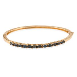 London Blue Topaz (Ovl) Bangle (Size 7.5) in ION Plated 18K Yellow Gold Bond 3.250 Ct.