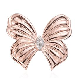 Diamond (Rnd) Butterfly Brooch in ION Plated 18K Rose Gold Bond