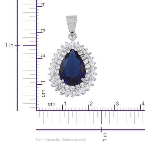 ELANZA AAA Simulated Tanzanite (Pear), Simulated Diamond Pendant in Rhodium Plated Sterling Silver