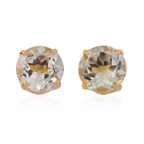 Close Out Deal Green Amethyst (Rnd) Stud Earrings (with Push Back) in 14K Gold Overlay Sterling Silver 5.000 Ct.