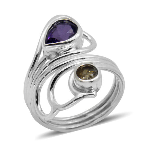 Royal Bali Collection Amethyst (Pear 1.43 Ct), Citrine Ring in Sterling Silver 1.860 Ct.