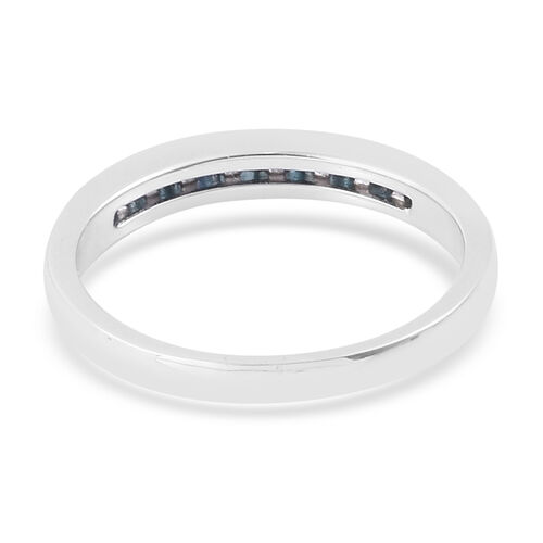 Blue Diamond (Bgt) Half Eternity Band Ring in Platinum Overlay Sterling Silver 0.250 Ct.