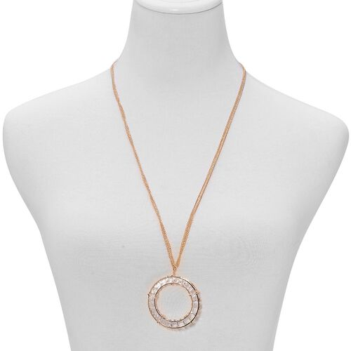 White Glass Circle Necklace (Size 28) in Gold Tone