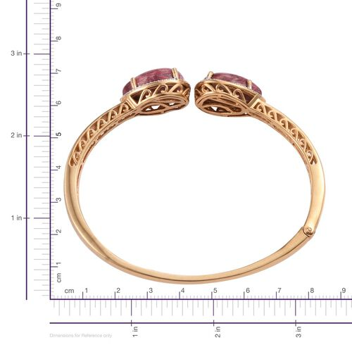 Norwegian Thulite (Pear), Diamond Bangle (Size 7.5) in ION Plated 18K YG Bond 25.030 Ct.