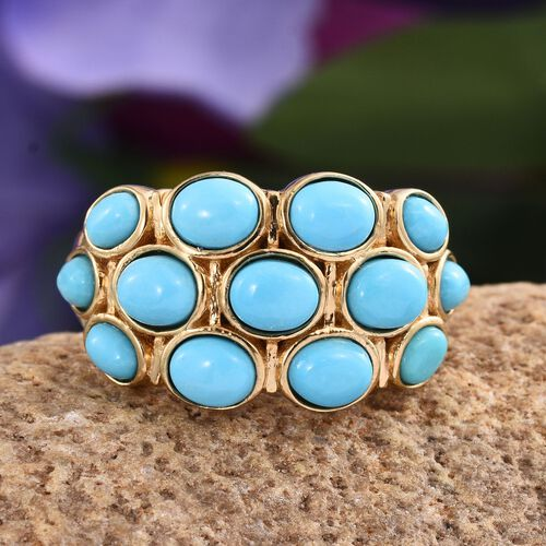 Arizona Sleeping Beauty Turquoise (Ovl) Ring in 14K Gold Overlay Sterling Silver 3.500 Ct.