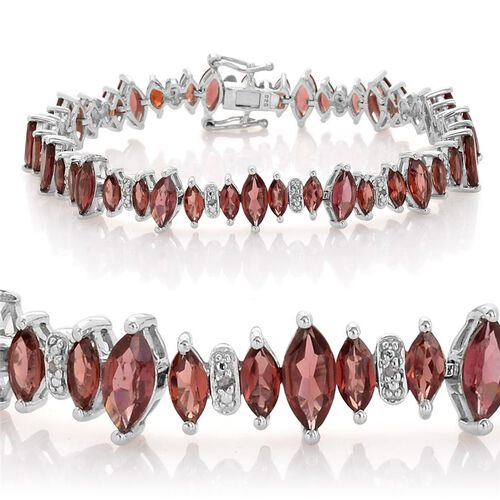 Rhodolite Garnet (Mrq), Diamond Bracelet (Size 7.5) in Platinum Overlay Sterling Silver 16.100 Ct.