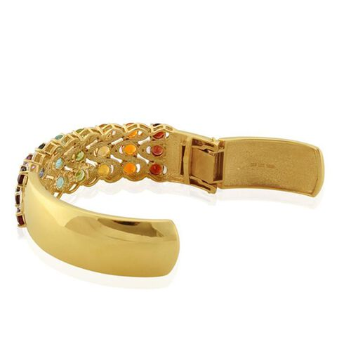 Exotic Gemstone (Rnd), Diamond Hinged Cuff Bangle(Size Large) in 18K Gold Overlay Sterling Silver 12.670 Ct