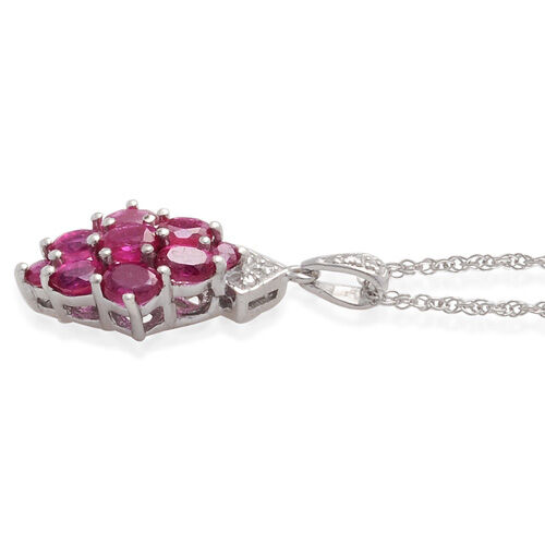 African Ruby (1.10 Ct), Burmese Ruby Platinum Overlay Sterling Silver Pendant With Chain  1.220  Ct.