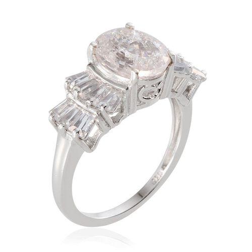 White Crackled Quartz (Ovl 2.25 Ct), White Topaz Ring in Platinum Overlay Sterling Silver 3.650 Ct.