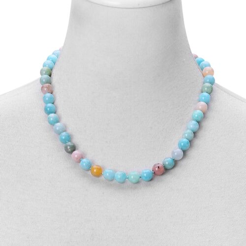Rare AAA Russian Amazonite, Peruvian Pink Opal Beaded Necklace (Size 20) with Magnetic Clasp in Rhodium Plated Sterling Silver 295.000 Ct.