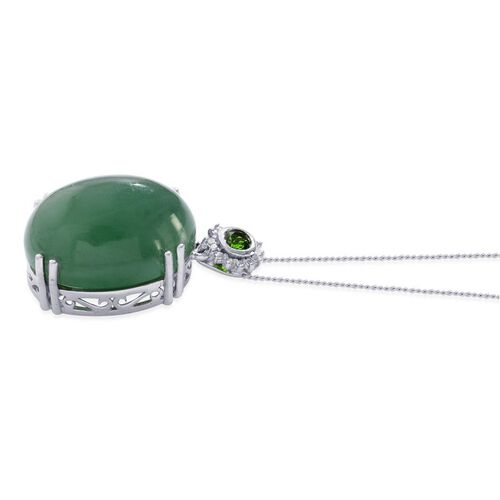 Emerald Quartz (Ovl 19.75 Ct), Russian Diopside and Diamond Pendant With Chain in Platinum Overlay Sterling Silver 20.000 Ct.