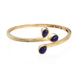 Lapis Lazuli (Pear 1.75 Ct) 3 Stone Bangle (Size 7.5) in ION Plated 18K Yellow Gold Bond 6.000 Ct.