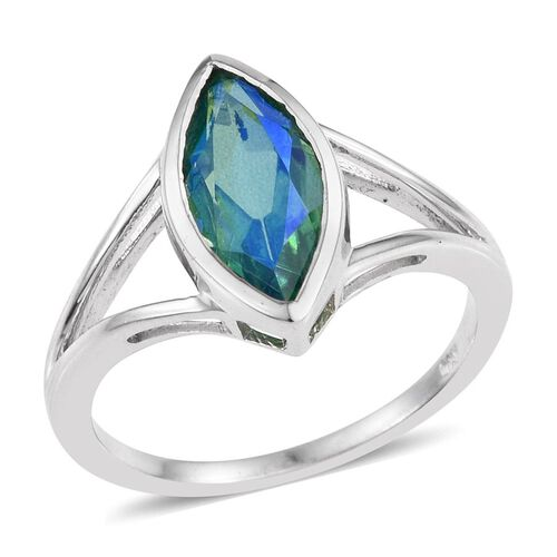 Peacock Quartz (Mrq) Solitaire Ring in Platinum Overlay Sterling Silver 2.000 Ct.