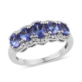 JCK Vegas Collection AA Tanzanite (Ovl), Natural Cambodian Zircon Ring in Rhodium Plated Sterling Silver 2.00 Ct.