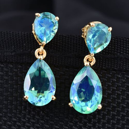 Peacock Quartz (Pear) Earrings (with Push Back) in 14K Gold Overlay Sterling Silver 9.500 Ct.