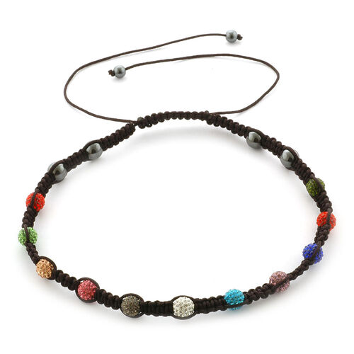 Hematite and Multi Colour Austrian Crystal Necklace (Adjustable)