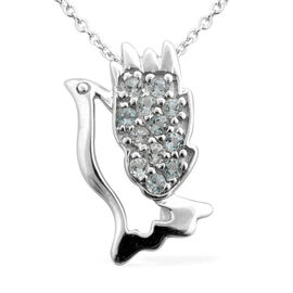 Sky Blue Topaz (Rnd) Pendant With Chain in Platinum Overlay Sterling Silver