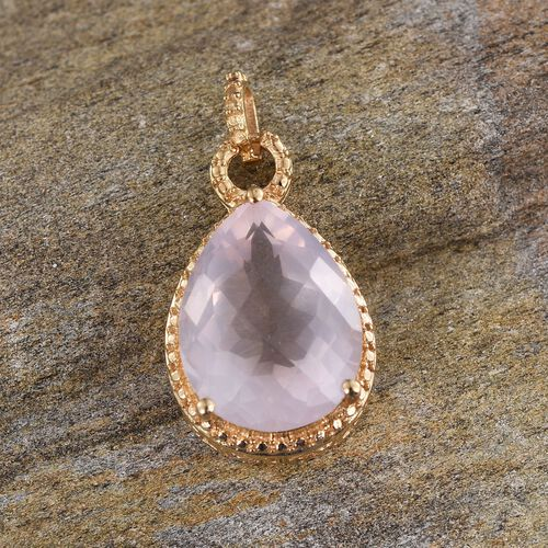 Checkerboard Cut Rose Quartz (Pear) Solitaire Pendant in 14K Gold Overlay Sterling Silver 8.000 Ct.