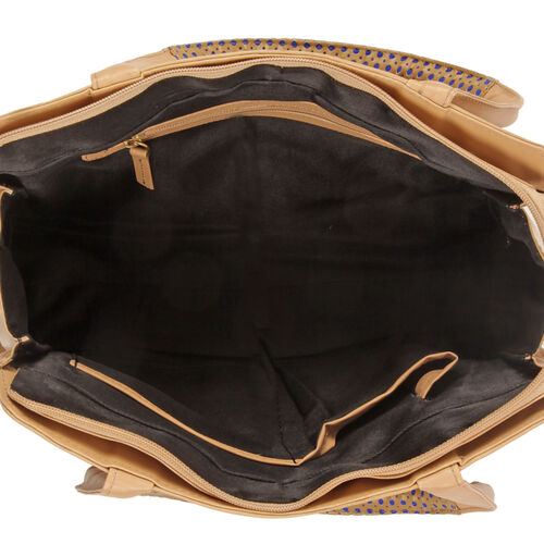 Genuine Leather Hand Bag with Brocade