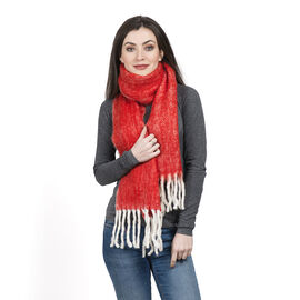 Limited Deal - Mohair Wool Blend (Mohair 25%) Neck Wrap dyed Red with Tassels (Size 160x30 Cm)