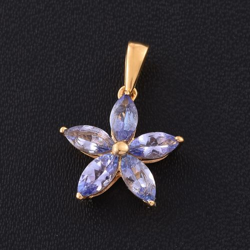 Tanzanite 1.15 Ct Silver Flower Star Pendant in Gold Overlay