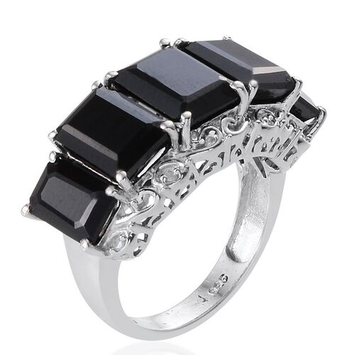 Boi Ploi Black Spinel (Oct 3.40 Ct), Diamond Ring in Platinum Overlay Sterling Silver 10.750 Ct.