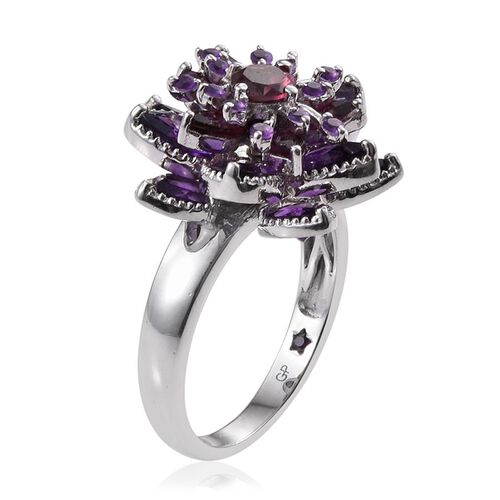 GP Rhodolite Garnet (Rnd 0.75 Ct), Amethyst and Kanchanaburi Blue Sapphire Floral Ring in Platinum Overlay Sterling Silver 7.500 Ct.