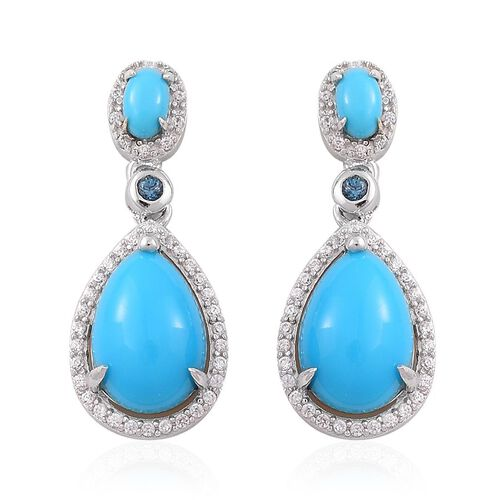 Arizona Sleeping Beauty Turquoise (Pear), London Blue Topaz and White Zircon Earrings (with Push Back) in Platinum Overlay Sterling Silver 5.250 Ct.