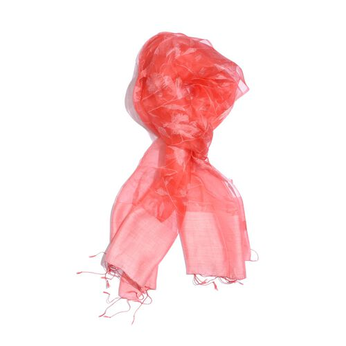 100% Silk Pink and Red Colour Floral Pattern Scarf (Size 180x50 Cm)