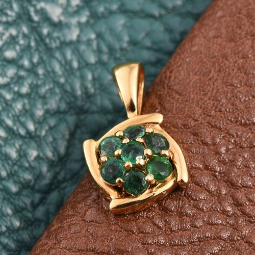 Brazilian Emerald (Rnd) 7 Stone Floral Pendant in 14K Gold Overlay Sterling Silver 0.500 Ct.