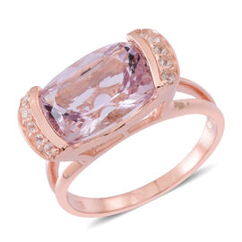 Rose De France Amethyst (Cush 6.00 Ct), White Zircon Ring in Rose Gold Overlay Sterling Silver 6.250 Ct.