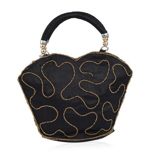 Super Auction - Limited Edition, Hand Made, Hand Set - Golden Colour Beads Embellished Black Colour Handbag (Size 22X18X7 Cm)