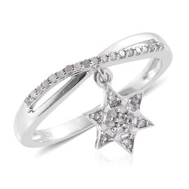 Diamond (Rnd) Star Charm Ring in Platinum Overlay Sterling Silver 0.200 Ct.