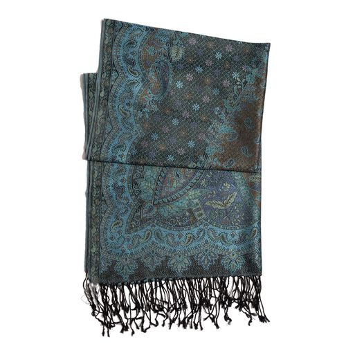 100% Superfine Silk Black and Multi Colour Paisley Pattern Blue Colour Jacquard Jamawar Scarf with Fringes (Size 180x70 Cm) (Weight 125-140 Grams)