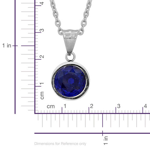 Simulated Blue Sapphire Pendant with Chain and Earrings (with Push Back) in Stainless Steel