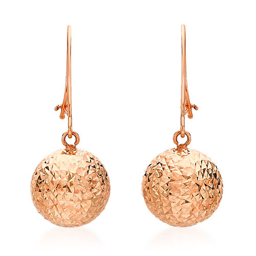 Vicenza Collection 9K Rose Gold Diamond Cut Ball Drop Hook Earrings