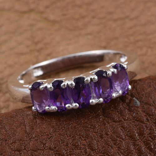 Amethyst (Ovl) 5 Stone Ring in Sterling Silver 1.000 Ct.