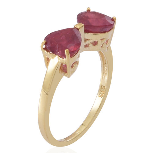 African Ruby (Hrt) Bow Ring in 14K Gold Overlay Sterling Silver 3.500 Ct.