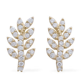 9K Y Gold SGL Certified Diamond (Rnd) (I3/ G-H) Leaf Earrings (with Push Back) 1.000 Ct.
