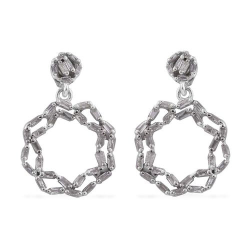 Designer Inspired-Diamond (Bgt) Earrings (with Push Back) in Platinum Overlay Sterling Silver 0.330 Ct.