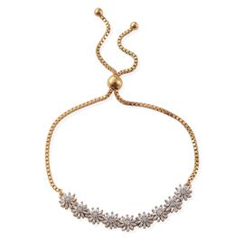 Diamond (Rnd) Adjustable Floral Bracelet (Size 6.5 to 8) in 14K Gold Overlay Sterling Silver 0.750 Ct.