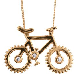 J Francis - 14K Gold Overlay Sterling Silver (Rnd) Cycle Pendant With Chain Made with SWAROVSKI ZIRCONIA